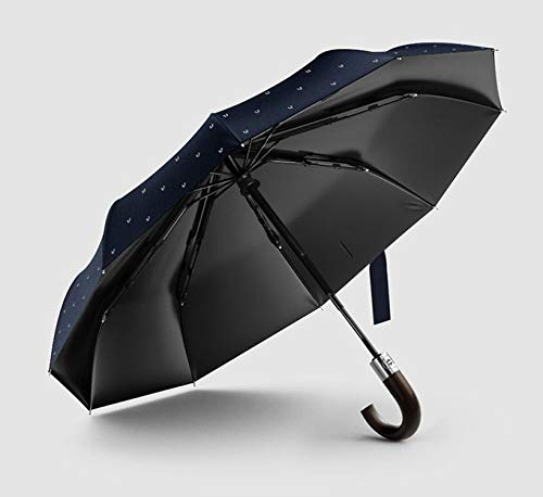 Wind Resistant Folding Automatic Umbrella Male Luxury Big Windproof Umbrellas for Men Rain Black Coating Mens Gifts Nylon XL,blue have pattern by Fragrancety (Image #4)
