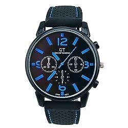 Watches for Men Casual Classy Quartz Analog Rubber Watch Sport Cool Quartz Hours Wrist Analog Watch (D)