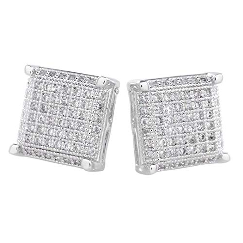 NIV'S BLING 18k White Gold-Plated Iced Out Square Stud Earrings