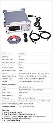 UTG2025A 25MHz USB Dual Channels Signal Function Arbitrary Waveform Generator 200MSa/s 4.3'' TFTLCD Arb. Memory Depth 1M