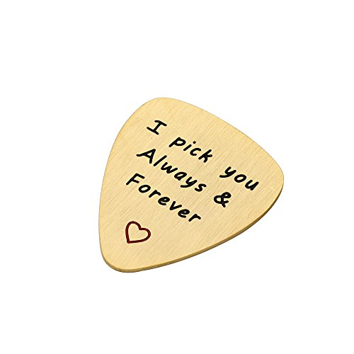 Best Friend Valentine Guitar Picks Charm Pendant Gift I Pick You Always & Forever Stainless Steel Matte (Steel Guitar Necklace)