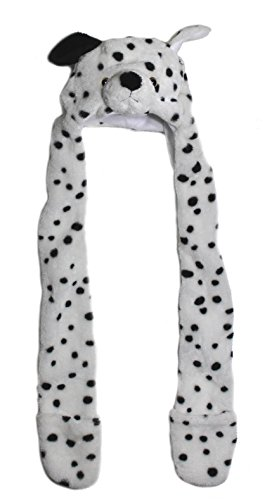 (Lucore Dalmatian Soft Plush Animal Faux Fur Funny Hat- Novelty Winter Ski Aviator Costume Hoodie with Scarf)