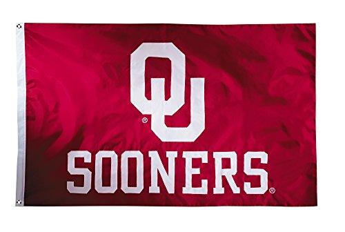 BSI NCAA Oklahoma Sooners 2-Sided Nylon Applique Flag with Grommets, 3' x 5', Cardinal (Applique Sooners Oklahoma Ncaa)