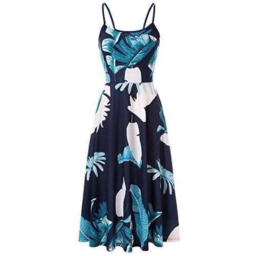 mujer Verano Vacaciones Vestido Casual Playa Viajes Elegante Chic Mid Halter Hojas Acmede Long de Floral FH7EwxxvSq