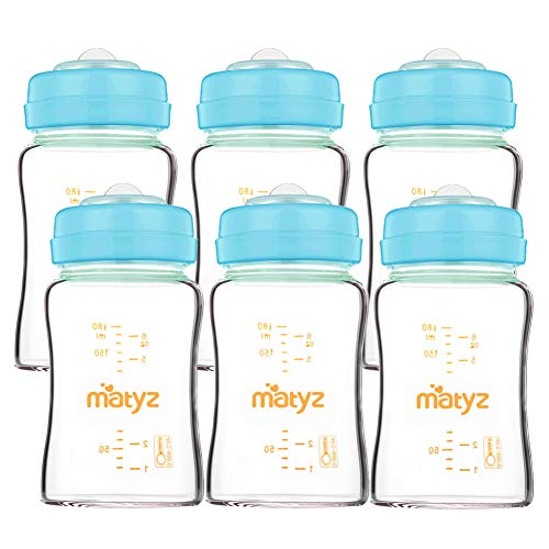Matyz 6-Pack Leakproof Glass Breastmilk Storage Bottles (Blue, 6oz Each) – Compatible with Spectra Medela Philips Breast Pumps – Wide Mouth Breast Milk Collection and Storage Containers – BPA Free