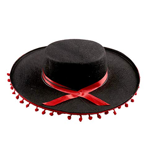 Crazy Night Matador Spanish Hat-Black and Red Fighting