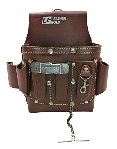 Leather Gold Leather Electrician Tool Pouch, Brown | Professional Tool Belt 3400 by Leather Gold