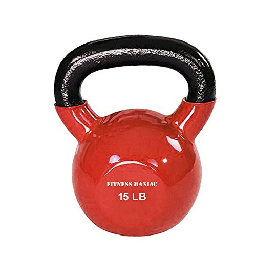Kettlebells Professional Grade Vinyl Coated – Solid Cast Iron Dipped Kettlebell Weights – 15 lbs