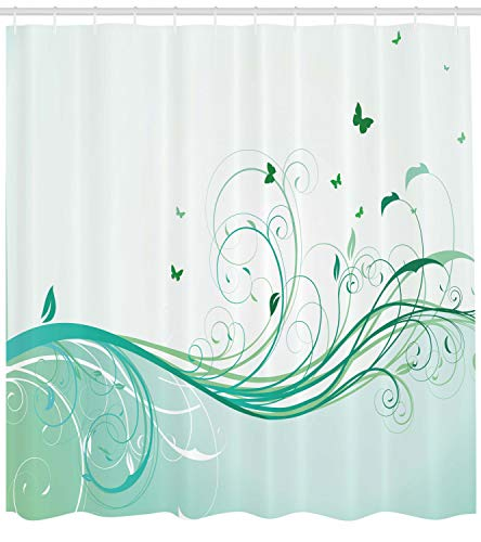 (Ambesonne Turquoise Shower Curtain, Illustration Floral Victorian Style Curvy Lines Wave Butterfly Design, Fabric Bathroom Decor Set Hooks, 105 Inches Extra Wide, Mint Green Pale Green)