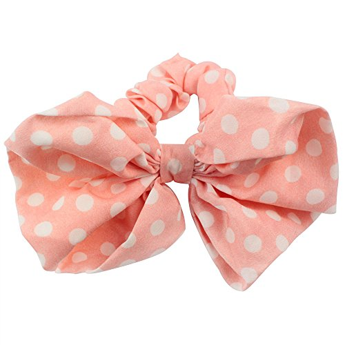Leegoal 1PC Korean Style Lovely Big Rabbit Ear Bow Headband Ponytail Holder Hair Tie Band (Pink)