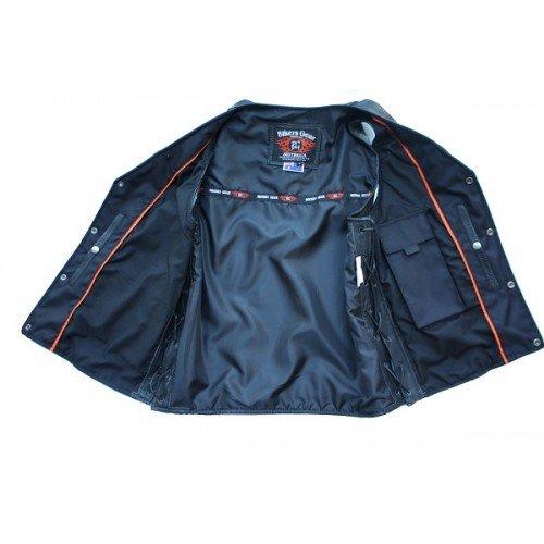 Bikers Gear Australia limit/ée Premium 1,3/mm souple en cuir de vache Harley Style Gilet r/églable avec dentelle c/ôt/és et poches Distressed Marron taille 2/x L