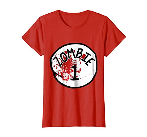 Womens Couples Zombie 1 Halloween Costume T-Shirt XL Red