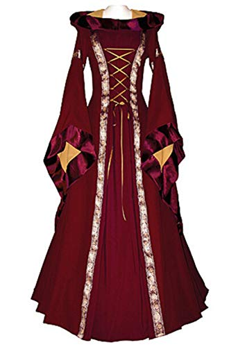 LETSQK Retro Hooded Gothic Medieval Dresses Irish Victorian