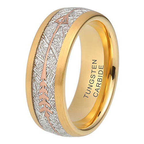 iTungsten 8mm Tungsten Rings for Men Women Wedding Bands Meteorite Arrow Inlay Black/Silver/Gold/Rose Gold Comfort Fit