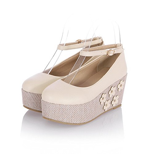 Round Buckles Ladies Pumps Platform Beige Urethane Shoes BalaMasa Metal Toe Hx5p1A1