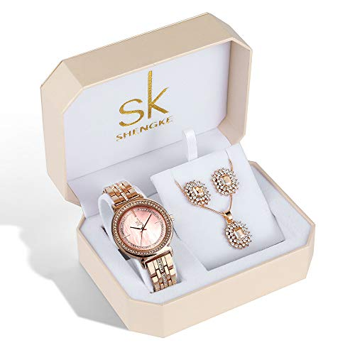 Women Quartz Wrist Watches with Rose Gold Earring and Necklace 3 Sets for Christmas Gifts (0092 ()