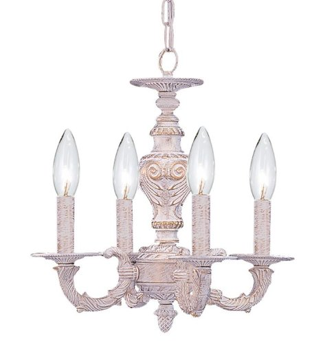 Cheap Crystorama 5124-AW Traditional Four Light Mini Chandelier from Sutton collection in Whitefinish,