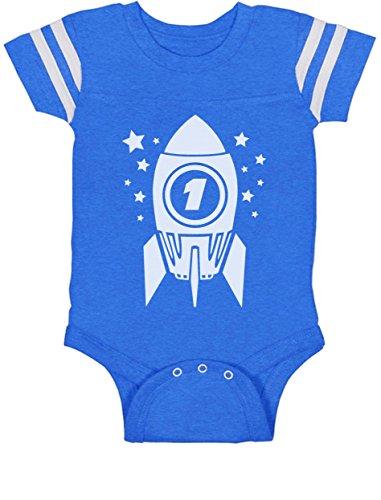 TeeStars - 1st Birthday Space Rocket One Year Old Cute Baby Jersey Bodysuit 12M Blue