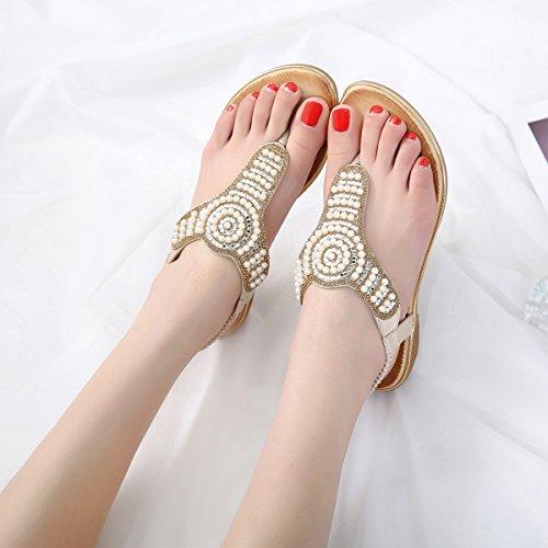 Zelta Women's Flat Thong Sandals Elastic Slingback Summer Shoes Gold FoXOVxqh0q