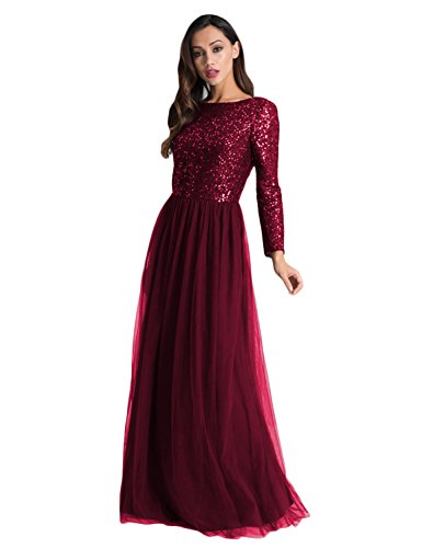 Asoiree Sequined Long Sleeves Evening Gowns Openback Prom Dresses Burgundy