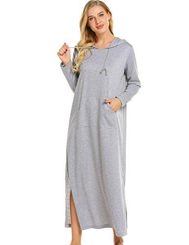 - Ekouear Women Short Sleeve Nightgown O-Neck Print Pocket Mini Sleepwear Dress, 9680grey, X-Large