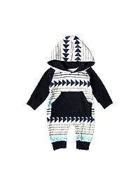 Meijunter Kids Boys Baby Pajama Hooded Pocket Stripe Sleepwear 5 Months-4 Years