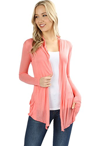 Price comparison product image Sportoli Women's Cardigan Long Sleeve Waterfall Drape Hacci Breathable Solid Summer W / Pocket -Coral (Large)