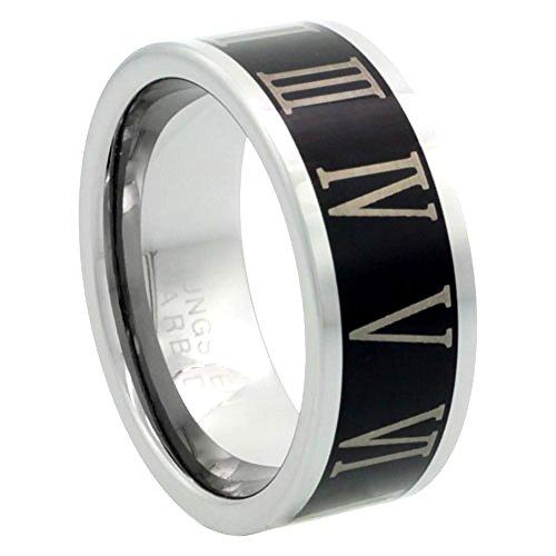 - Sabrina Silver Tungsten Carbide 8 mm Flat Wedding Band Ring Roman Numerals 1-12 Blackened Finish, size 9