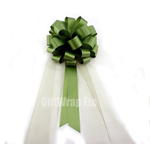 Olive Green Wedding Pull Bows with Tulle Tails - 8