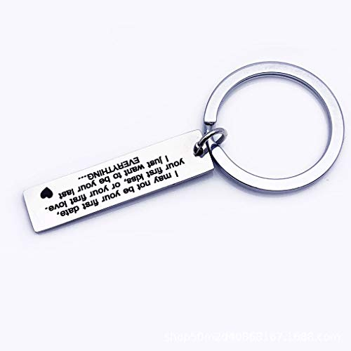 dianpo I May Not Be Your First Date Keychain Couples Love Keyring Gfit Boyfriend Mens Stainless Steel Key Chain