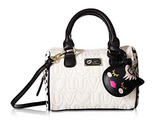 Luv Betsey Johnson Harlli Luv/Heart Quilted Mini Crossbody Satchel Bag - Ivory/Black