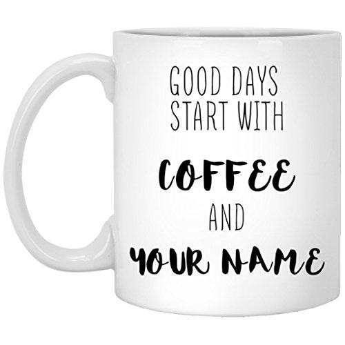 Personalized Coffee Mug Names Premium Engraving 11 oz. White Ceramic - ADD YOUR NAME TEXT LETTERS (White, 11 oz)