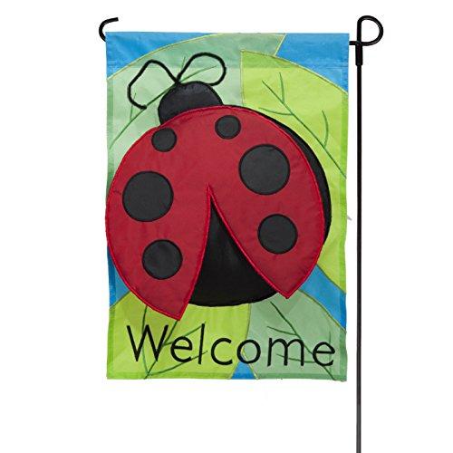 Jetmax Spring Ladybug Deluxe Sculpted Applique Garden Flag