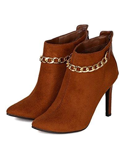 Breckelles BG00 Women Suede Pointy Toe Chain Stiletto Heel Ankle Bootie - Tan d0JLc7FYeO