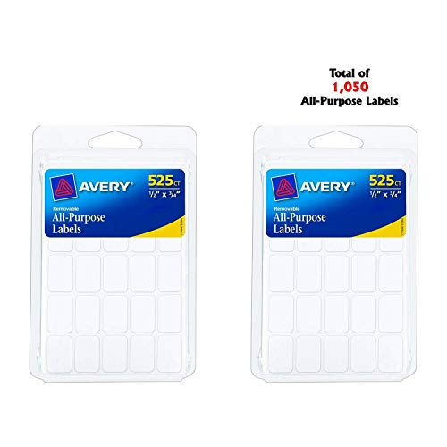 Avery Removable Labels, Rectangular, 0.5 x 0.75 Inches, White, Pack of 525 (6737) (2)