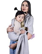 TinyMinyMoe Baby Wrap Carrier, Baby Ring Sling Carrier, Nursing Cover, Newborn Essentials (Grey)