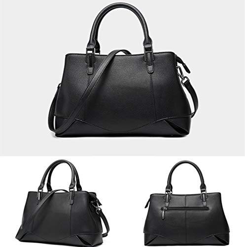Piel Bandolera Genuina Bolso Xmyl 13 black De 27 Black Moda 5cm 28 Top Diseño Elegante Mano Mujer Manejar La dXAFBqnSw