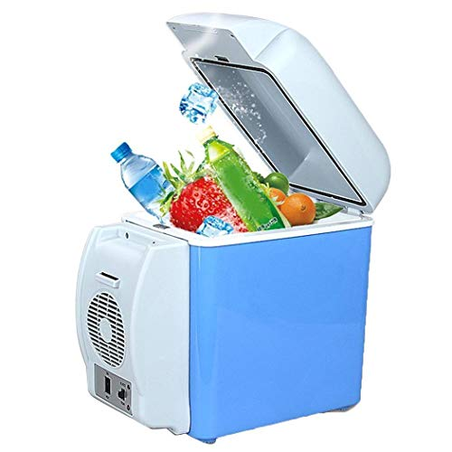 (Suines 7.5L Mini Car Refrigerator Low Noise Cooling Heating Portable Dual-Use Fridge Beverage)