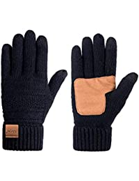 Womens Wool Winter Warm Knit Gloves, Touch Screen Thick Thermal Thinsulate Lined Anti-Slip Cable Cuff Driving Gloves