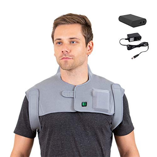 Amazing Shoulder Cold Therapy System [Portable Battery] Venture Heat Infrared Heating Pad for Neck and Shoulder Pain – Electric Heat Wrap Brace for Pain Relief, Muscle Injury, Cramps, Joint Stress 2019