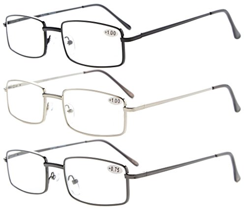 3-pack Eyekepper Readers Rectangular Spring Temple Medium Metal Reading Glasses Men Women +1.25 ()