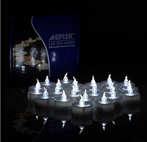 AGPtek Lot 24 Battery Operated LED Cool White Tea Light Candle Flickering Flashing For Wedding Party Festival Decoration Occasions by AGPTEK