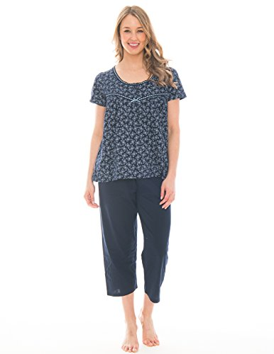 Piece Capri and Tee Lightweight Cotton Pajama Set (Peacoat Blue Butterfly, Large) (Cotton Capri Set)
