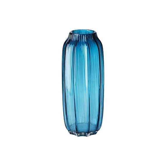 "CASAMOTION Vases Hand Blown Solid Color Home Decor Centerpieces Gift Art Ribbed Glass Vase, Blue, 12'' - √ SIZE:12.2"" height, 4.9"" length and width, 3.1"" opening diameter. √ HANDMADE&MOUTHBLOWN: Each product is individually mouthblown and hand-finished by skilled craftsmen. Slight variations may occur. √ SODA-LIME GLASS: All CASAMOTION handmade glass is produced from soda-lime glass-which is lead free, unlike crystal. - vases, kitchen-dining-room-decor, kitchen-dining-room - 417Ld3d8HNL. SS570  -"