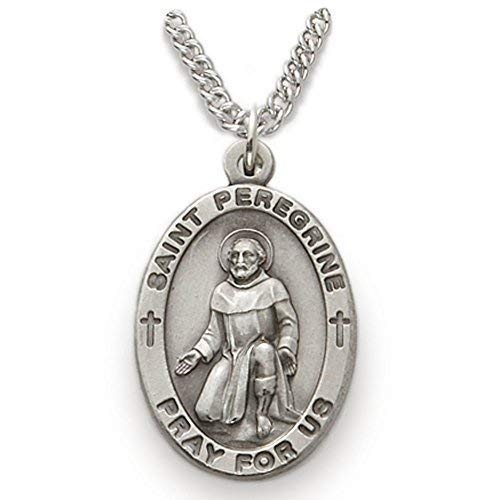 TrueFaithJewelry Sterling Silver Oval Saint Peregrine Patron of Cancer Medal, 7/8 Inch ()