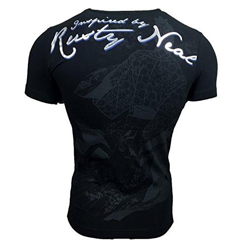 T Shirt Herren Männer Poloshirt Jungs mit Motiv Print Druck A13249RN, Größe:S, Farbe:Schwarz