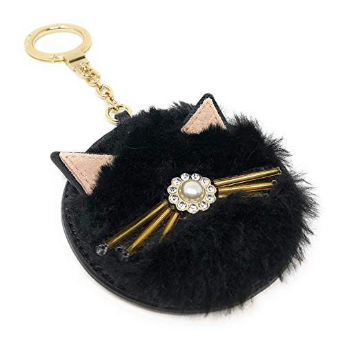 Kate Spade Black Cat Round Furry Keychain