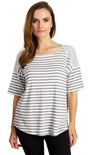 Cable & Gauge Women's Hi-Low Striped Short Sleeve Top, White/Heather Grey, Large (Cable Womens Gauge &)