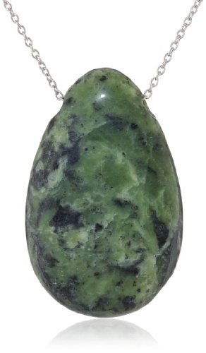 Sterling Silver Green Jasper Teardrop Pendant Necklace, 18""