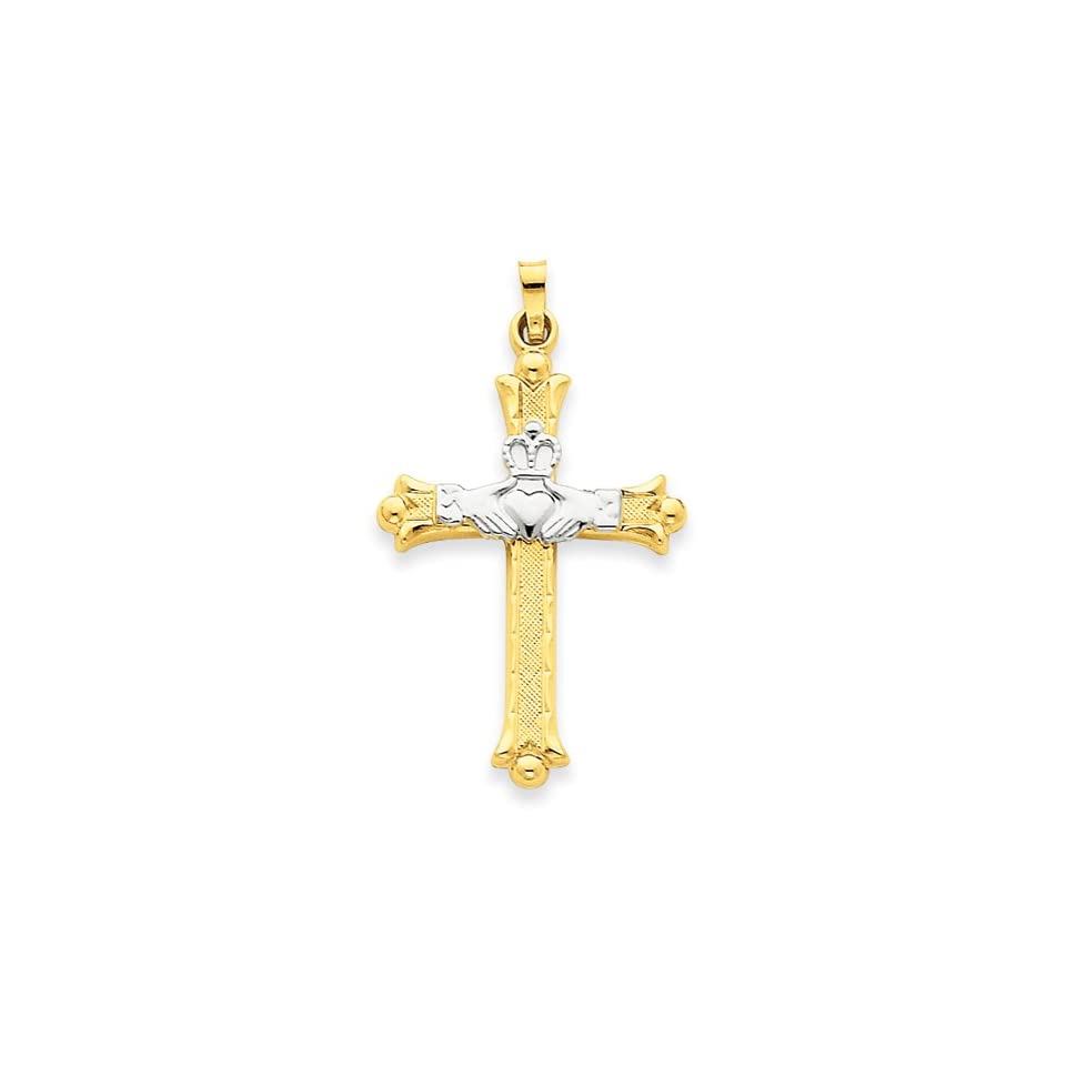14k White and Yellow Gold Claddagh Cross Charm Pendant   40mm
